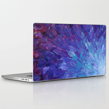 SCALES OF A DIFFERENT COLOR - Abstract Acrylic Painting Eggplant Sea Scales Ocean Waves Colorful Laptop & iPad Skin by EbiEmporium | Society6