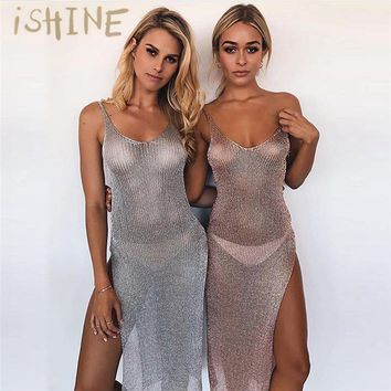 iSHINE stretchable women summer sexy beach dress hollow out casual dresses party evening elegant knitted dress backless vestidos