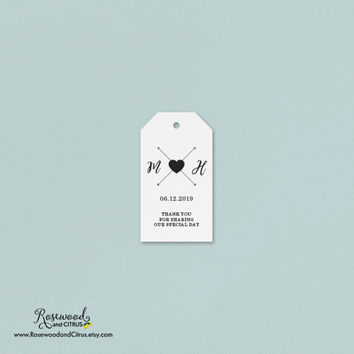 Wedding Tags, Personalized Tags, Favor Tags, Wedding Favor Tags, Thank You Tags, Modern Wedding Tags, Heart and Arrow, Monogram, Custom Tags
