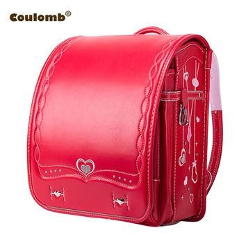 Coulomb Orthopedic School Bag Children Backpack For Boy And Girl For Kid PU Hasp Japan Randoseru Kid Bag Love Necklace  2017 New