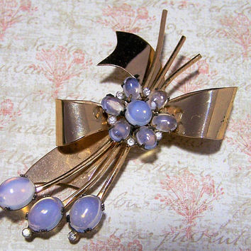 1940s Coro Glass Moonstone  Pin, Floral BowSterling Silver Brooch, Gold Wash, Mid Century Large Coro Flower Brooch, Costume Jewellery 118