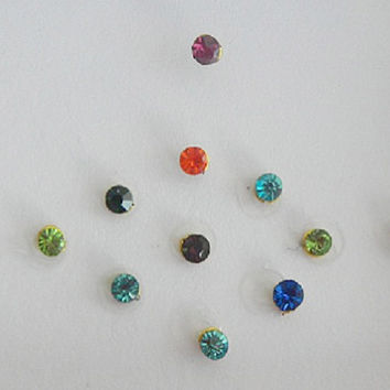 70 Rainbow Fake nose stud,Multicolored Rhinestone Bindi Pack,Small size Bindi,Nail art decoration,Body art,Belly dance,Self Adhesive Sticker