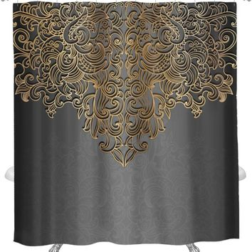 Shower Curtain, Elegant Black And Yellow/Gold Design