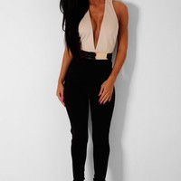 Madeline Black & Nude Halter Neck Gold Detail Jumpsuit | Pink Boutique