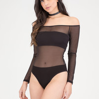 Sheer Thing Off-Shoulder Mesh Bodysuit GoJane.com