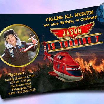 Planes Fire and Rescue Birthday Invitation Photo Design For Birthday Invitation on SaphireInvitations