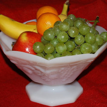 Milk Glass Grape Pattern Footed Bowl