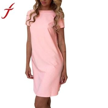 Summer Womens Dress Sexy Backless Solid Bodycon Short Sleeve Dress Ladies Party Evening Mini Dress Femininas