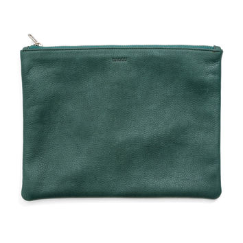 BAGGU Leather Flat Pouch Medium Pine