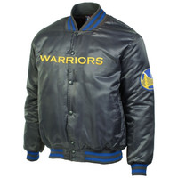 Golden State Warriors Majestic Satin Jacket – Charcoal