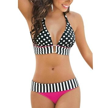 Polka dot and Stripe bikini set
