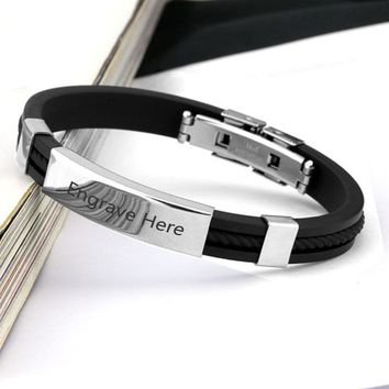 Personalized Engraved Bracelet For Men Custom Stainless Steel Bracelets&Bangles Fashion Jewelry Gift for Him
