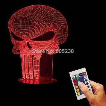Hologram stuff Free Shipping 1Piece 3D Hologram Illusion Punisher Skull Table Lamp Acrylic LED USB Table Lamp