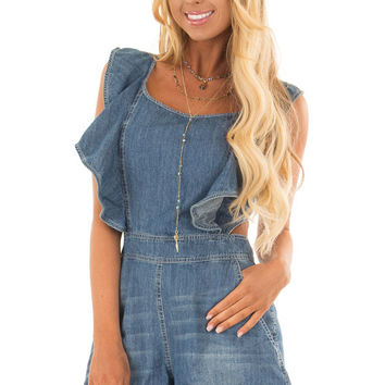 Denim Ruffle Romper with Open Back and Pockets