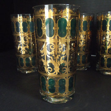 Barware Culver Bar Glasses Highball Emerald Green and Gold Mad Men Set of 5