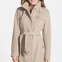 Women's MICHAEL Michael Kors Stand Collar Wool Blend Trench Coat,