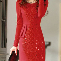 Red Long Sleeve Sequined Mini Dress