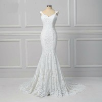 Lace Mermaid Wedding Dress Backless Wedding Gowns