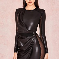 Aziza Sequin Draped Mini Dress