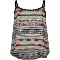 Full Tilt Tribal Print Girls Crcohet Trim Tank Black Combo  In Sizes