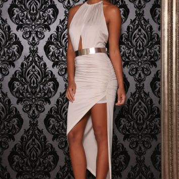 Bombshell Asymetrical dress (Oyster)