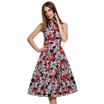 Floral Swing Summer Dress in Grey with Red and White Flowers