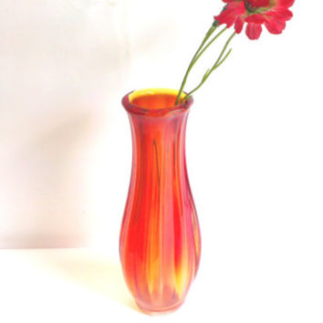 "Vintage Handmade Vase,Red Fayette Glass Vase - 11 1/2"" Tall"