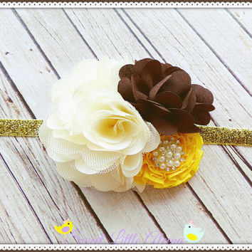 Fancy Fall Headband, Cream Brown Yellow Headband, Big Flower Hairband, Infant Hairbow, Girls Autumn Hair Clip, Kids Headband, Newborn Prop