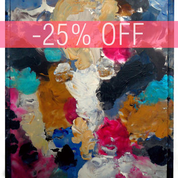 DISCOUNT -25% - An Original Acrylic Impressionistic Abstract Coloruful Contemporary Modern Mirror Painting Made With Lips by Kelli Gedvil!