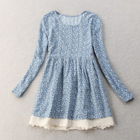 Blue daisy print mini dress