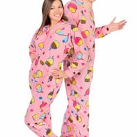 Cupcakes Fleece Adult Footed Pajamas with Drop Seat