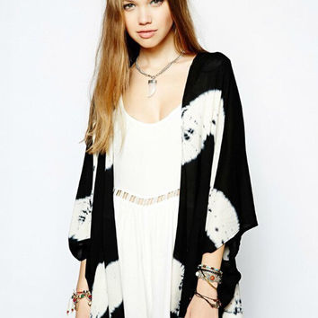Black and White Tie-dye Pattern Long Sleeve Cardigan