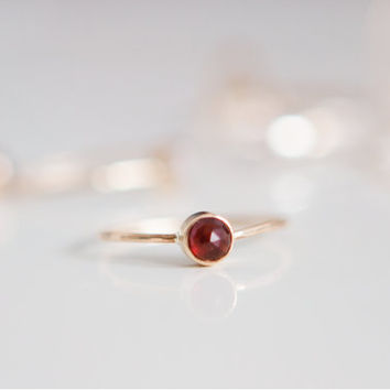 Garnet Ring | January Birthstone | 14K Gold Filled | Stacking Ring | Minimalist Ring | Gift For Her