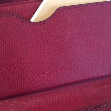 MICHAEL KORS FULTON LARGE PHONE CASE WALLET WRISTLET CHERRY RED LEATHER $158