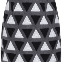 Grey Triangle Print Mini Skirt