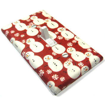 Red Snowmen Decor Light Switch Cover Christmas Decoration Holiday Home Snowman 1269