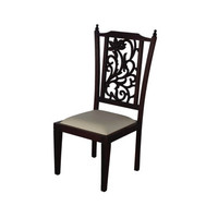 Teak Wood Dining Chairs with Carved Back
