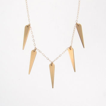 14K Gold Spike Necklace - Spike Drops in Yellow Or White Gold