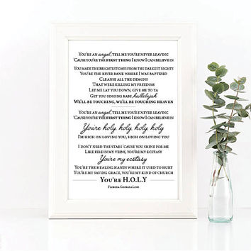 H.O.L.Y. // Art Print // Florida Georgia Line Lyrics // Home Decor // Gift Idea