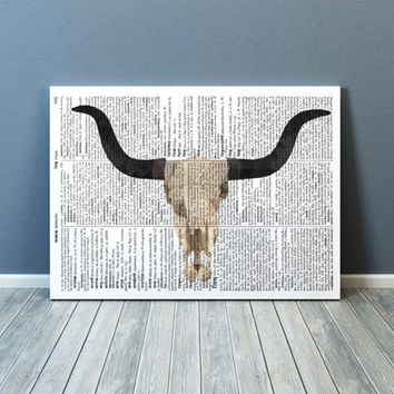 Modern art Bull skull poster Anatomy print Colorful decor TOA88-1