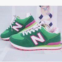 new balance abric is breathable n leisure sports shoes women s shoes couples forrest gump students running green