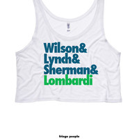 Wilson and Lynch & Sherman + Lombardi Croptop | Seattle Go Hawks Twelves 12s Flowy Tank Top | Seahawks Girls Tank | Women's NFL Jersey Tee