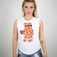 Pizza Bear Womens Muscle Tank