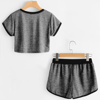 Ringer Slub Tee With Drawstring Waist ShortsFor Women-romwe