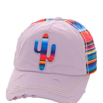 Serape Cactus Distressed Baseball Cap Hat Light Purple, Embroidered On Torn Denim Decor