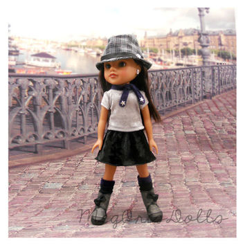 Hearts 4 Hearts Doll Clothes, Silver Gray Top, Black Velvet Skirt, Boot Liners, Fedora Hat (optional)