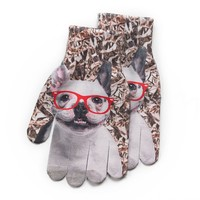 SO French Bulldog in Glasses Texting Gloves