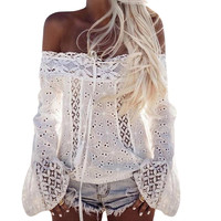 FUNOC Sexy Off Shoulder Blusas Long Sleeve Chiffon Blouses Shirt Women Tops Lace Up White Shirts Hollow Out Boho Women Top 2017