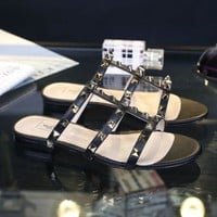 VALENTINO Women Fashion Rivets Leather Slipper Sandals Shoes