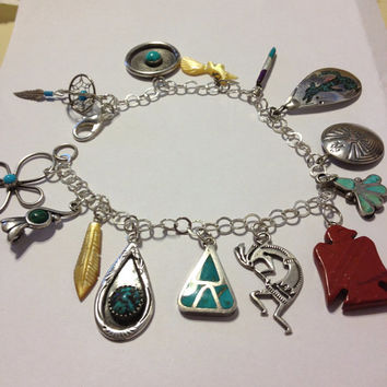 Sterling Charm Bracelet Navajo Hopi Turquoise Malachite Carnelian Coral MOP Silver 925 Kokopelli Cross Feather Dreamcatcher Eagle Jewelry